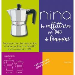 Nina 6 Tassen Aluminium Espressokocher schwarz