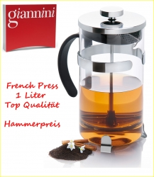 1 Liter French Press Aufgusskanne Pressstempelkanne Glas Giannini