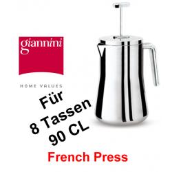 Giannini,8 Tassen, 90 cl, French Press, Edelstahl, Aufgusskanne, Pressstempelkanne, Thermofunktion